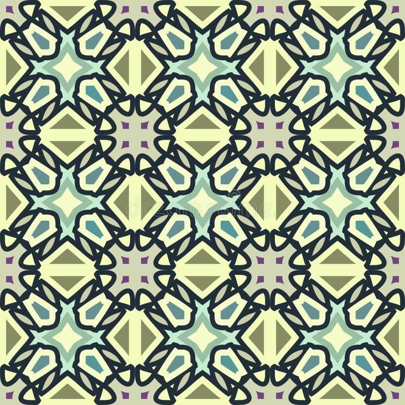 Μπλε και πράσινο αφηρημένο γεωμετρικό σχέδιο, υπόβαθρο, διάνυσμα άνευ ραφής ελεύθερη απεικόνιση δικαιώματος