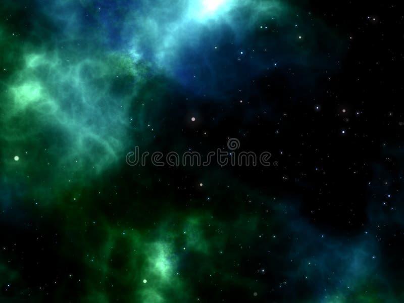 Μπλε και πράσινο νεφέλωμα με τα αστέρια που λάμπουν μέσω του διαστήματος στον κόσμο στοκ εικόνα με δικαίωμα ελεύθερης χρήσης