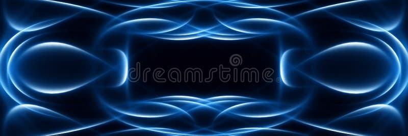 Μπλε καμμένος αφηρημένα κύματα σε ένα μαύρο σκηνικό Φουτουριστικό πανοραμικό υπόβαθρο ελεύθερη απεικόνιση δικαιώματος