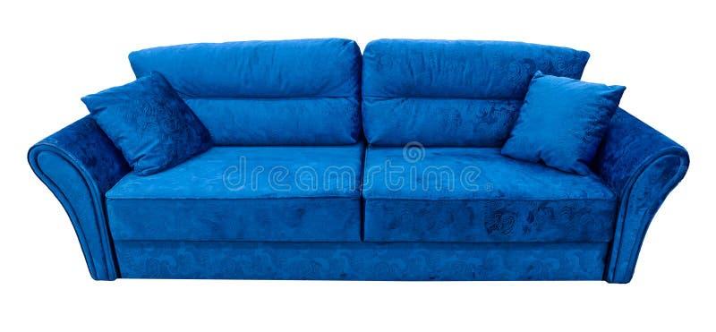 μπλε καναπές Μαλακός velour καναπές υφάσματος Κλασικό σύγχρονο ντιβάνι στο απομονωμένο υπόβαθρο στοκ φωτογραφίες