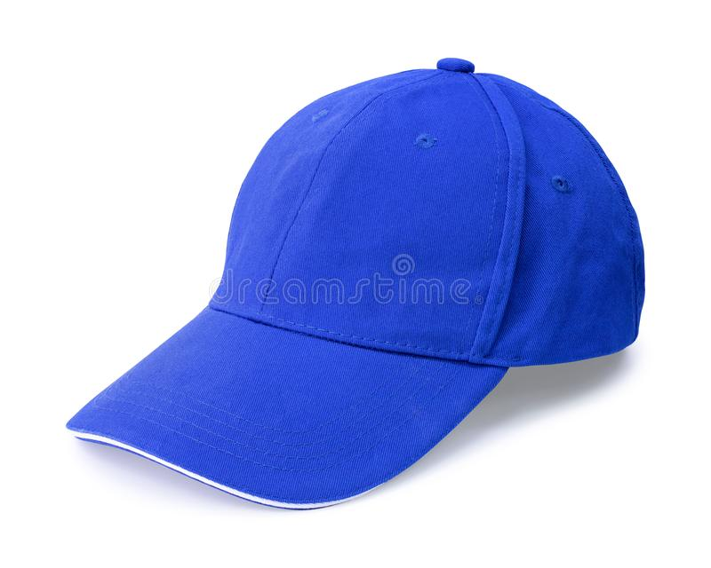 Μπλε ΚΑΠ που απομονώνεται στο άσπρο υπόβαθρο Πρότυπο του καπέλου του μπέιζμπολ κατά την πλάγια όψη r στοκ εικόνα