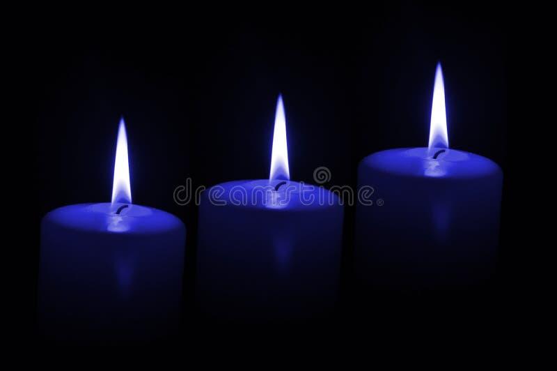 μπλε κεριά τρία στοκ εικόνες