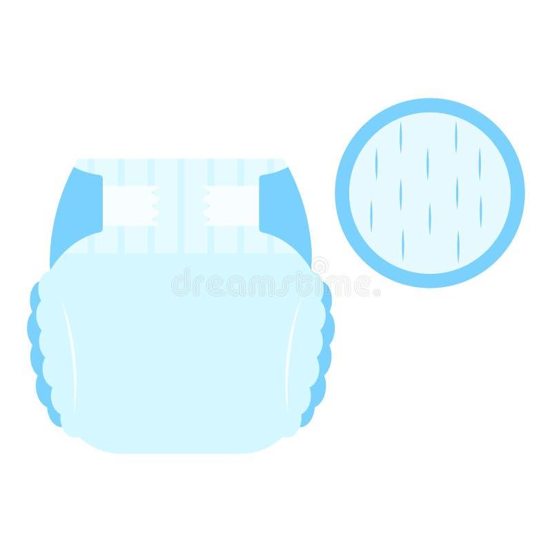 Μπλε κιλότες πανών μωρών απορροφητικές με το εξαιρετικά ξηρό μαλακό εικονίδιο στρώματος για τα πακέτα πανών, Ιστός, παραγωγή μωρώ διανυσματική απεικόνιση