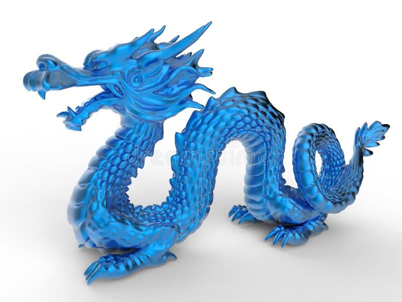 Μπλε κινεζικό statuette δράκων ελεύθερη απεικόνιση δικαιώματος