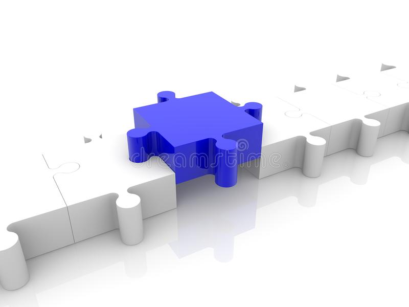 Μπλε κομμάτι γρίφων μεταξύ δύο λευκών ελεύθερη απεικόνιση δικαιώματος