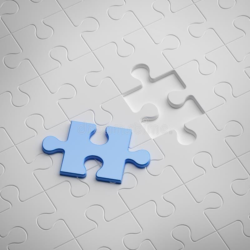 Μπλε κομμάτι του άσπρου γρίφου απεικόνιση αποθεμάτων
