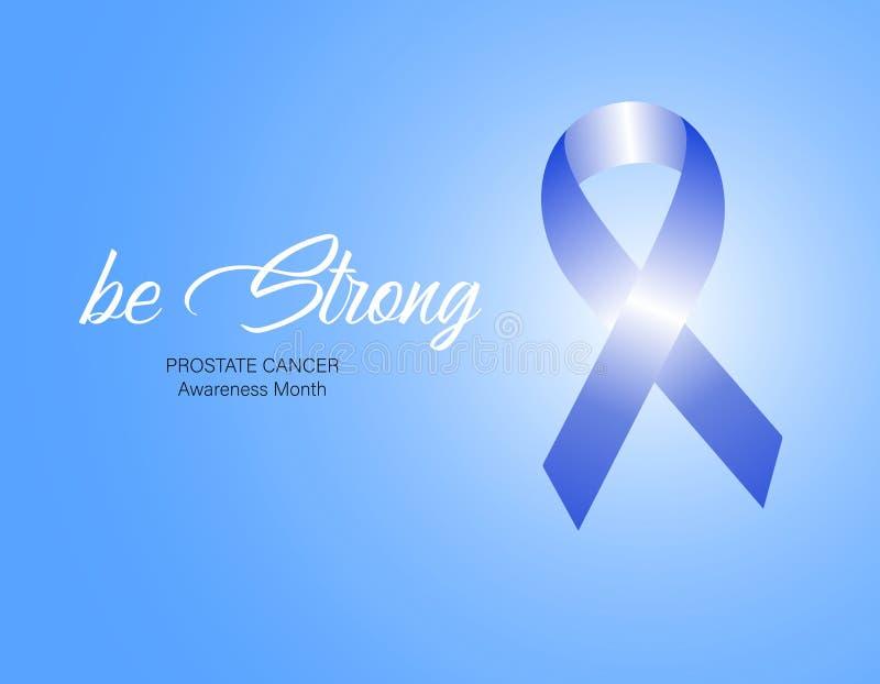 Μπλε κορδέλλα συνειδητοποίησης Έννοια ημέρας παγκόσμιου προστατική καρκίνου επίσης corel σύρετε το διάνυσμα απεικόνισης Έννοια υγ διανυσματική απεικόνιση