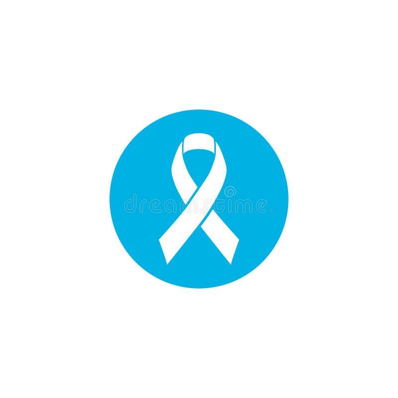Μπλε κορδέλλα το σύμβολο της ημέρας συνειδητοποίησης παγκόσμιου προστατικής καρκίνου το Νοέμβριο, διάνυσμα που απομονώνεται στο ά διανυσματική απεικόνιση
