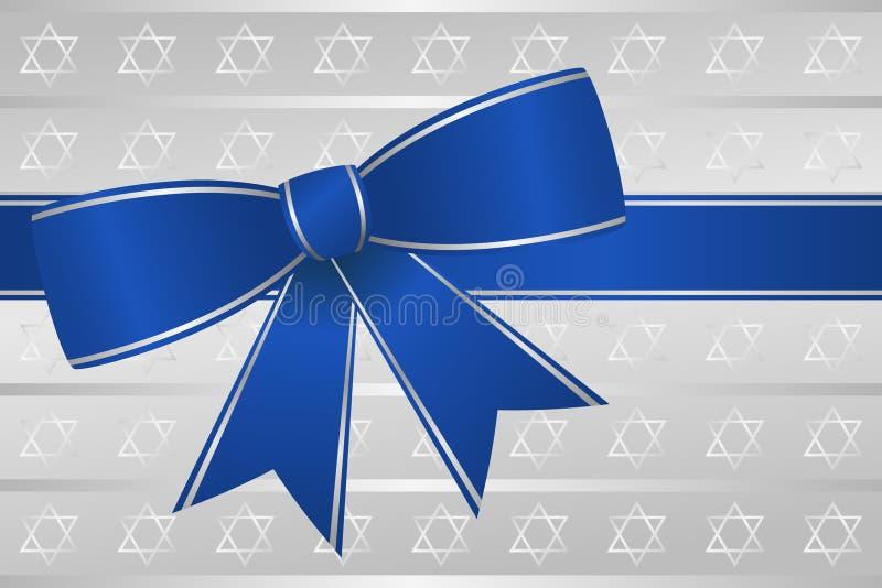 μπλε κορδέλλα τόξων hanukkah απεικόνιση αποθεμάτων