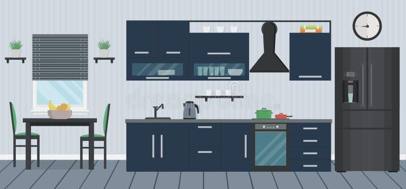 Μπλε κουζίνα με τη σύγχρονους συσκευή, το νεροχύτη, τα έπιπλα και τα πιάτα Μαγειρεύοντας συσκευές Πίνακας και έδρες Εσωτερικό δωμ ελεύθερη απεικόνιση δικαιώματος
