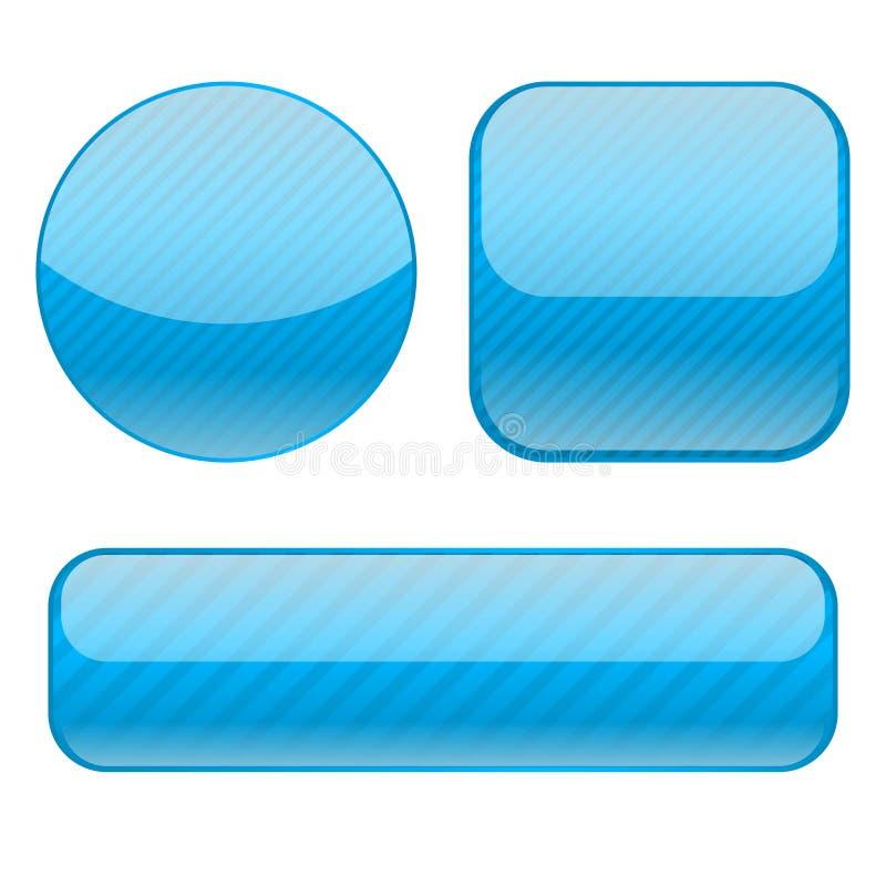 μπλε κουμπιά Συλλογή των λαμπρών τρισδιάστατων εικονιδίων διανυσματική απεικόνιση