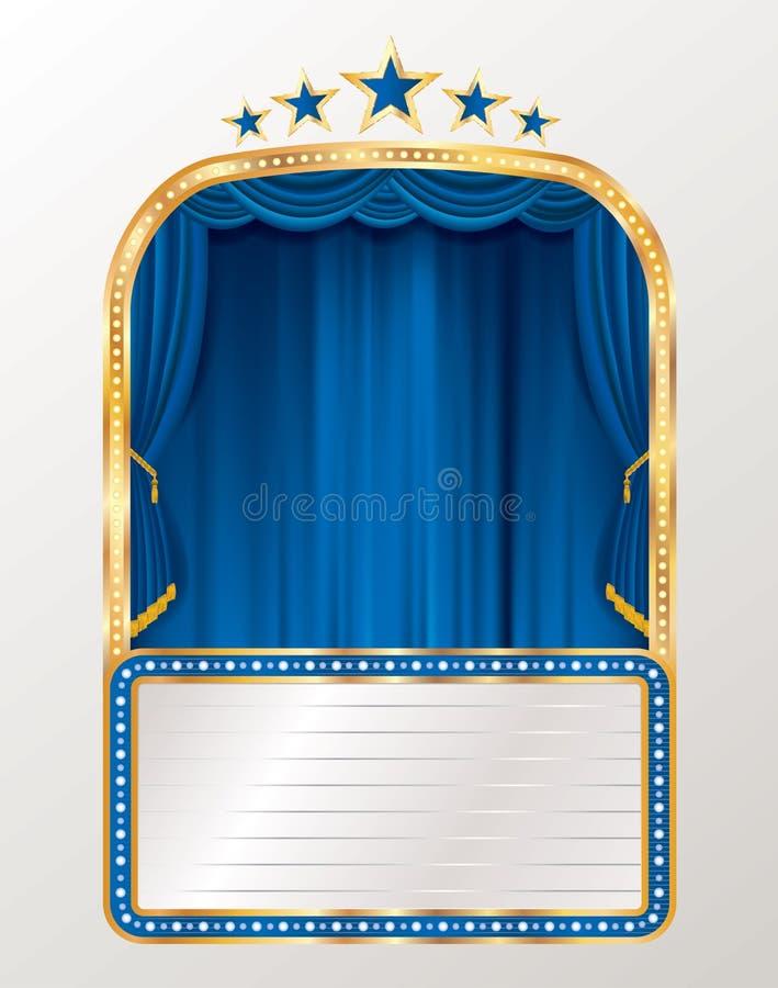 Μπλε κουρτίνα πινάκων διαφημίσεων διανυσματική απεικόνιση