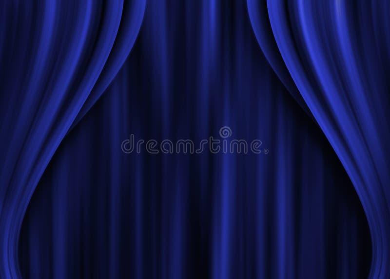 Μπλε κουρτινών, θέατρο απεικόνιση αποθεμάτων