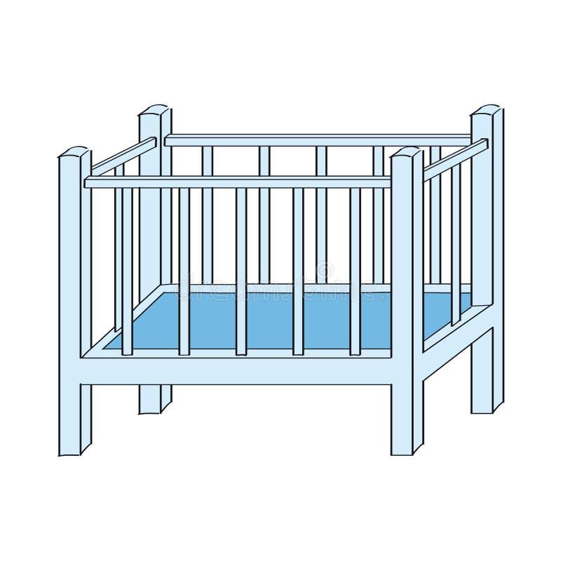 Μπλε κούνια μωρών για το αγόρι - αρχική συρμένη χέρι απεικόνιση διανυσματική απεικόνιση