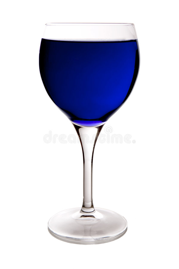 μπλε κρασί γυαλιού στοκ φωτογραφία