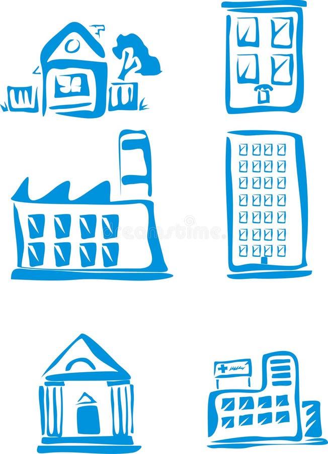 μπλε κτήρια ελεύθερη απεικόνιση δικαιώματος