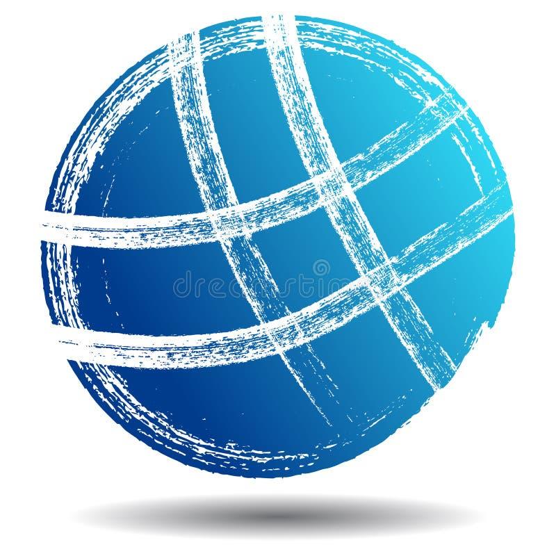 Μπλε κτυπήματος βουρτσών λογότυπων σφαιρών ελεύθερη απεικόνιση δικαιώματος