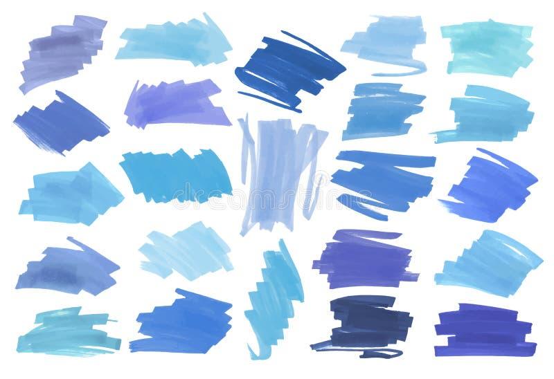 Μπλε κυριώτερα λωρίδες χρώματος, εμβλήματα που σύρονται με τους δείκτες της Ιαπωνίας Μοντέρνα κυριώτερα στοιχεία για το σχέδιο Δι ελεύθερη απεικόνιση δικαιώματος
