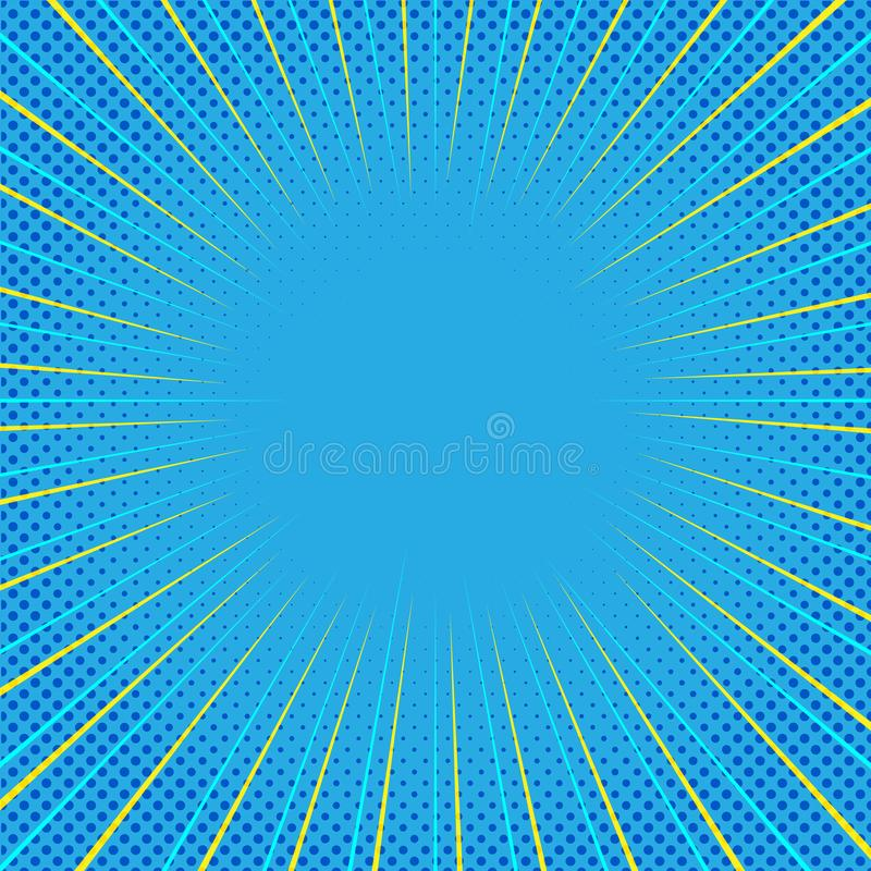 Μπλε κωμικό υπόβαθρο με τις κίτρινες γραμμές ζουμ και το ημίτονο σχέδιο σημείων διανυσματική απεικόνιση