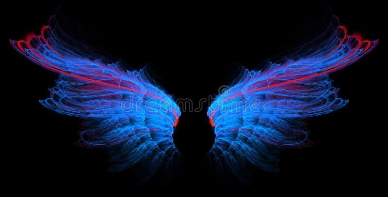 μπλε κόκκινα φτερά γραμμών διανυσματική απεικόνιση