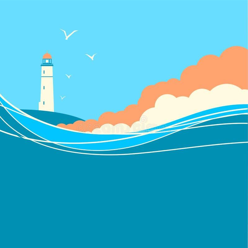 Μπλε κύματα θάλασσας με το φάρο Διανυσματική αφίσα φύσης διανυσματική απεικόνιση