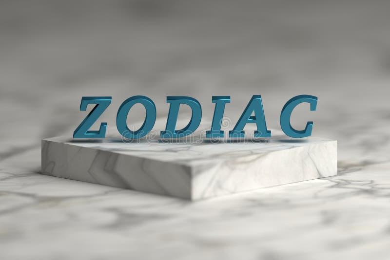 Μπλε λαμπρό μεταλλικό Zodiac λέξης διανυσματική απεικόνιση
