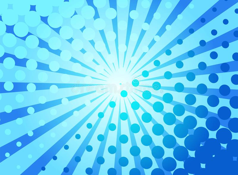 Μπλε λαϊκό αναδρομικό υπόβαθρο τέχνης με τις ακτίνες και τα σημεία κωμικές διανυσματική απεικόνιση