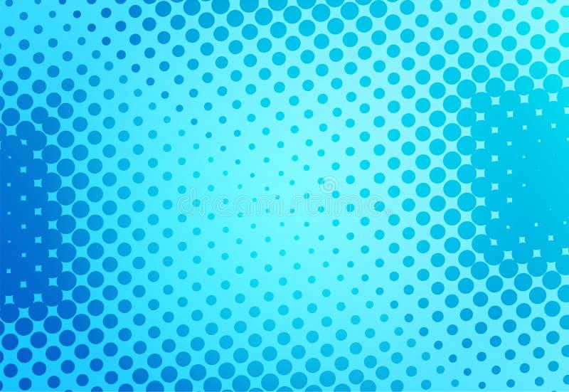 Μπλε λαϊκό αναδρομικό υπόβαθρο τέχνης με το κωμικό ύφος σημείων, διανυσματικό illu διανυσματική απεικόνιση