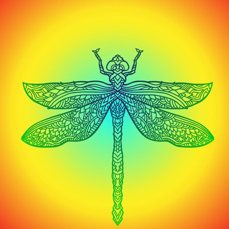 Μπλε λιβελλούλη στο ύφος mandala Τυποποιημένο έντομο Διανυσματική απεικόνιση Boho εθνικό πρότυπο απεικόνιση αποθεμάτων