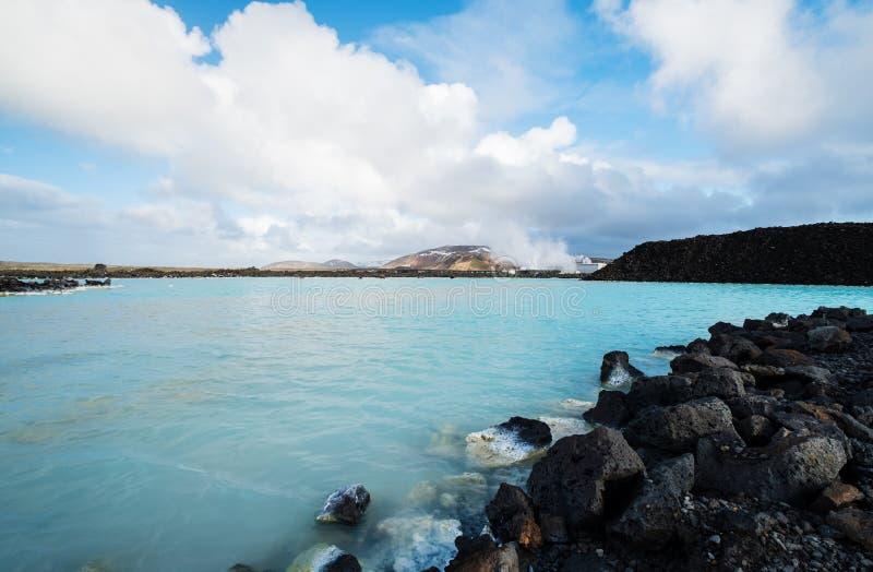 Μπλε λιμνοθάλασσα, γεωθερμικό φυσικό καυτό ελατήριο στην Ισλανδία στοκ εικόνα με δικαίωμα ελεύθερης χρήσης