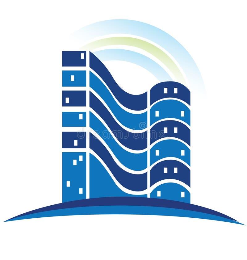 Μπλε λογότυπο ακίνητων περιουσιών απεικόνιση αποθεμάτων