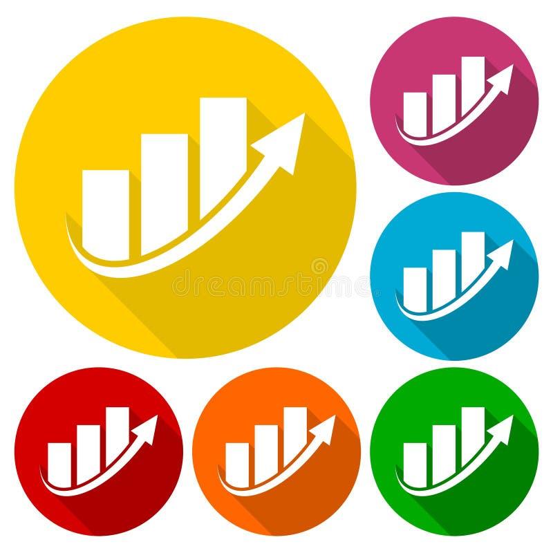 Μπλε λογότυπο επιχειρησιακής χρηματοδότησης διαγραμμάτων βελών, εικονίδια που τίθενται με τη μακριά σκιά διανυσματική απεικόνιση