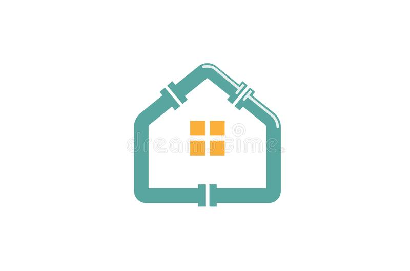 Μπλε λογότυπο στεγών υδραυλικών σπιτιών απεικόνιση αποθεμάτων