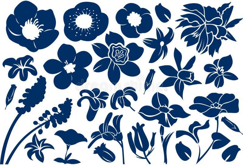 Μπλε λουλουδιών σχέδιο απεικόνισης σκιαγραφιών διανυσματικό διανυσματική απεικόνιση