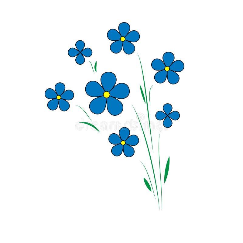 μπλε λουλούδια λιναριού Πέντε πέταλα με ένα κίτρινο κέντρο Agroculture διανυσματική απεικόνιση