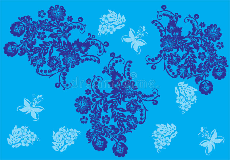 μπλε λουλούδια πεταλ&omicr ελεύθερη απεικόνιση δικαιώματος