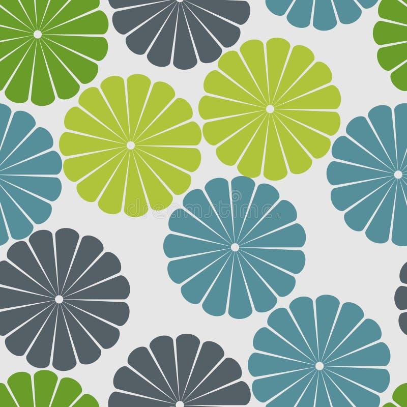 μπλε λουλούδια πράσινα διανυσματική απεικόνιση