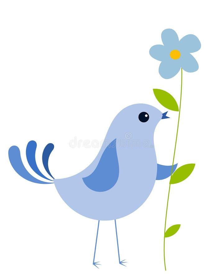 μπλε λουλούδι πουλιών διανυσματική απεικόνιση