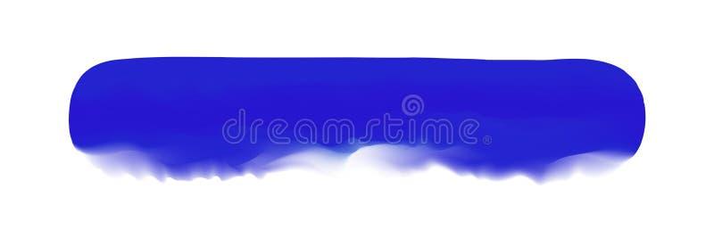 Μπλε λωρίδα που χρωματίζεται στο watercolor στο καθαρό άσπρο υπόβαθρο, μπλε κτυπήματα βουρτσών watercolor, ψηφιακός μαλακός βουρτ ελεύθερη απεικόνιση δικαιώματος