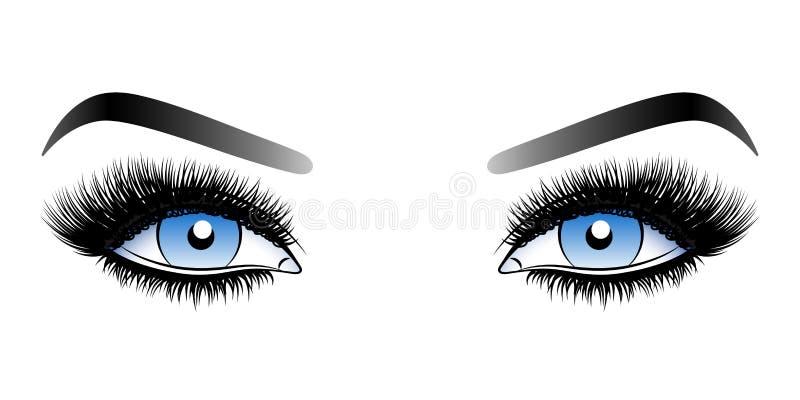 Μπλε μάτια γυναικών με τα μακροχρόνια ψεύτικα μαστίγια με τα φρύδια απεικόνιση αποθεμάτων