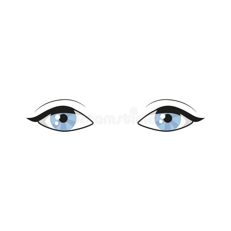 Μπλε μάτια στο άσπρο υπόβαθρο όμορφο στενό πρόσωπο ματιών - επάνω γυναίκα Το λογότυπο ματιών Τα ανθρώπινα μάτια κλείνουν επάνω τη διανυσματική απεικόνιση