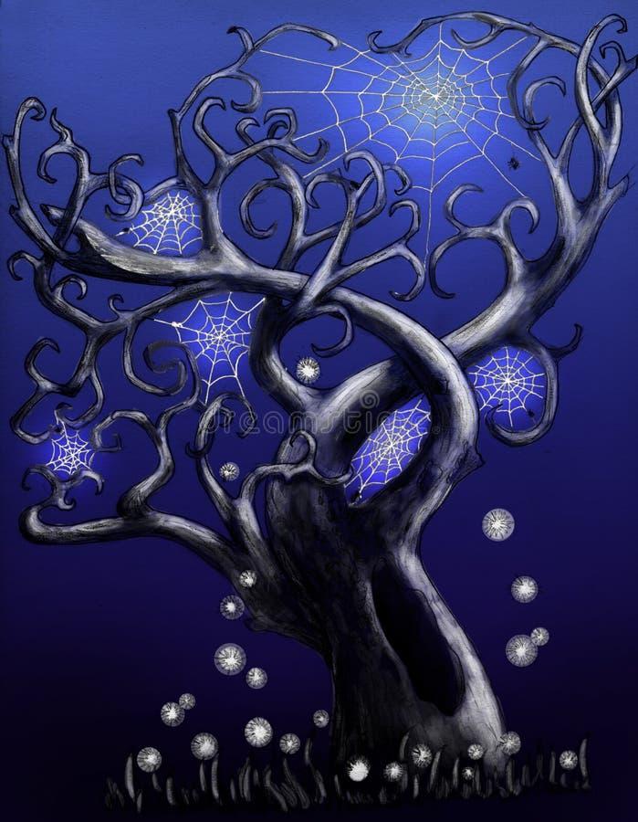 μπλε μαγικό δέντρο αραχνών ελεύθερη απεικόνιση δικαιώματος