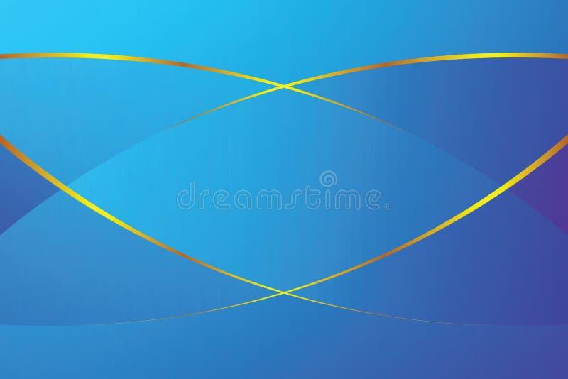 Μπλε μαλακή ελαφριά και χρυσή γραμμή χρώματος κλίσης γραφική για το σύγχρονο υπόβαθρο πολυτέλειας διαφήμισης εμβλημάτων καλλυντικ διανυσματική απεικόνιση