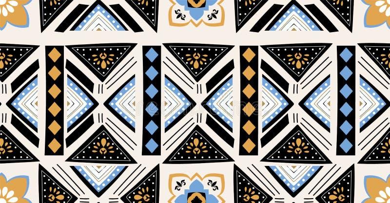Μπλε μαύρο πορτοκαλί χρυσό γεωμετρικό άνευ ραφής σχέδιο στο αφρικανικό ύφος με την τετραγωνική, φυλετική μορφή διανυσματική απεικόνιση