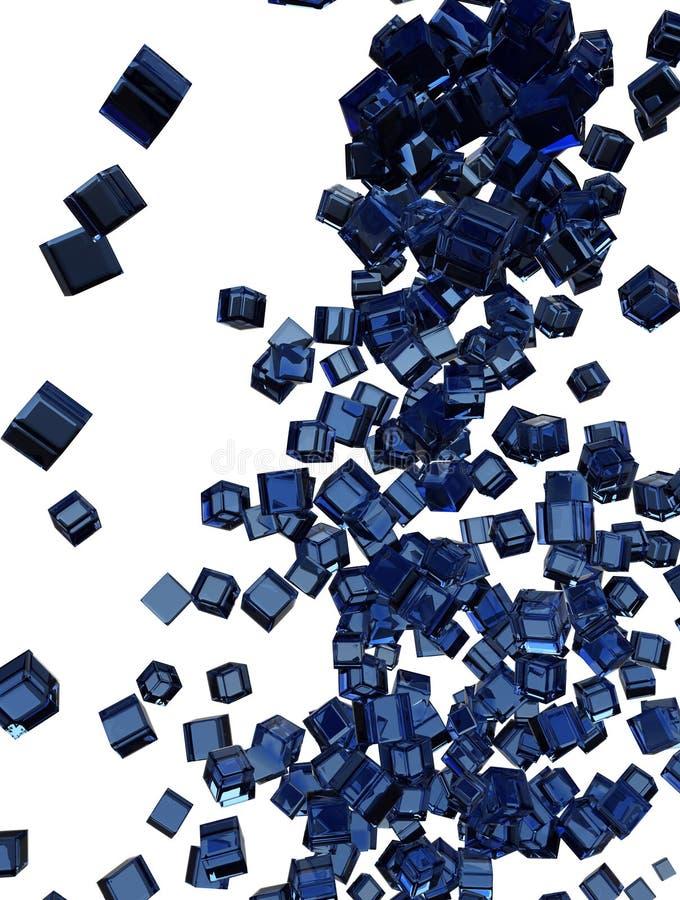 μπλε μειωμένο γυαλί κύβων ελεύθερη απεικόνιση δικαιώματος