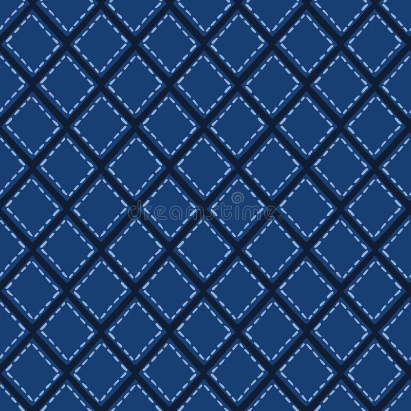 Μπλε μορφές κεραμιδιών μωσαϊκών λουλακιού Διανυσματικό άνευ ραφής υπόβαθρο σχεδίων Συρμένη χέρι γεωμετρική γραφική απεικόνιση πλέ ελεύθερη απεικόνιση δικαιώματος