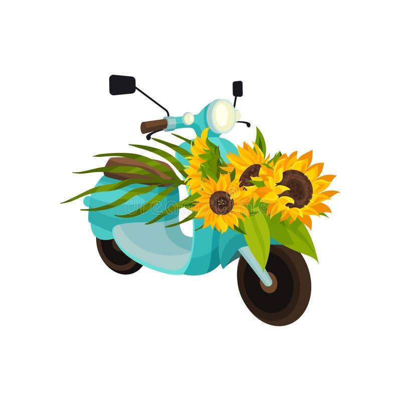 Μπλε μοτοποδήλατο με τους ηλίανθους E διανυσματική απεικόνιση