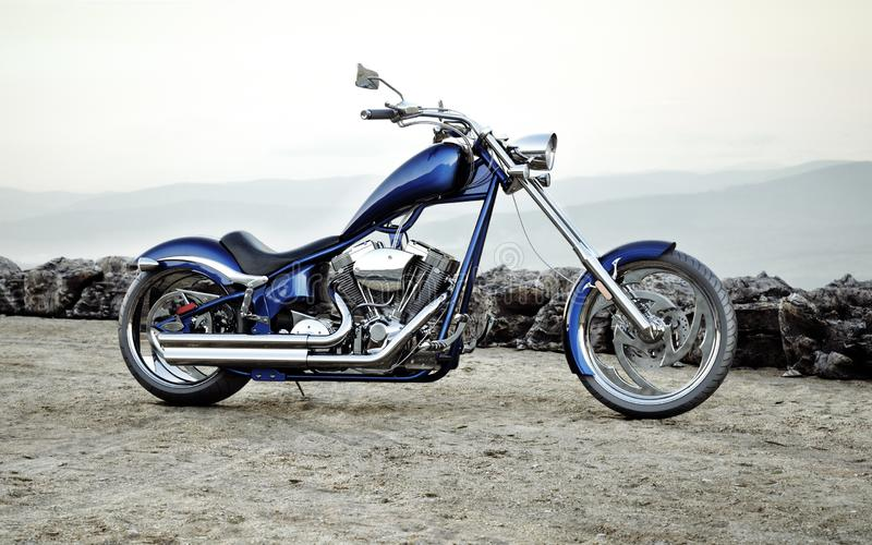 Μπλε μοτοσικλέτα συνήθειας με ένα υπόβαθρο τοπίων σειράς βουνών διανυσματική απεικόνιση
