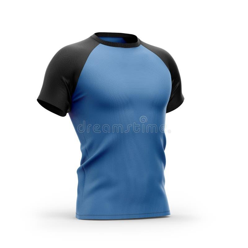 Μπλε μπλούζα ατόμων ` s με τα μαύρα κοντά μανίκια ρεγκλάν διανυσματική απεικόνιση