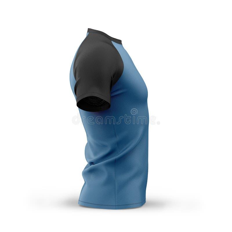 Μπλε μπλούζα ατόμων ` s με τα μαύρα κοντά μανίκια ρεγκλάν απεικόνιση αποθεμάτων